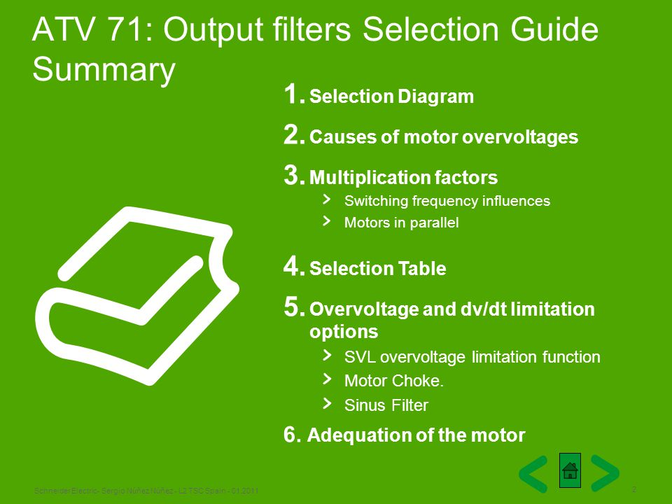 ATV 71: Output filters Selection Guide Summary