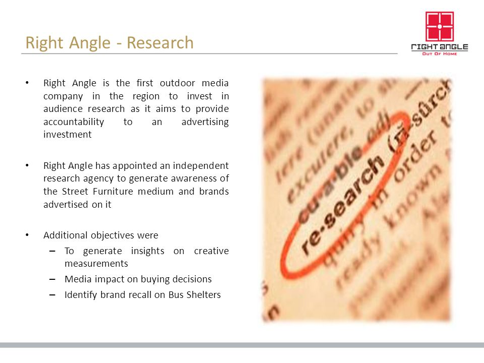 Right Angle - Research