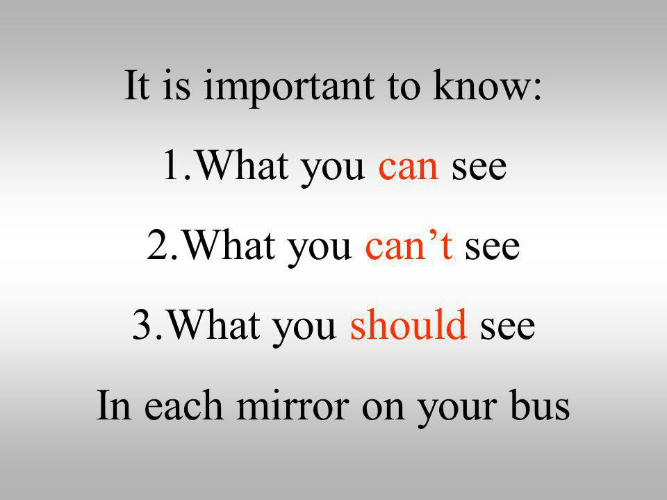 It is important to know: What you can see What you can't see