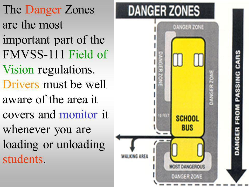 The Danger Zones are the most important part of the FMVSS-111 Field of Vision regulations.