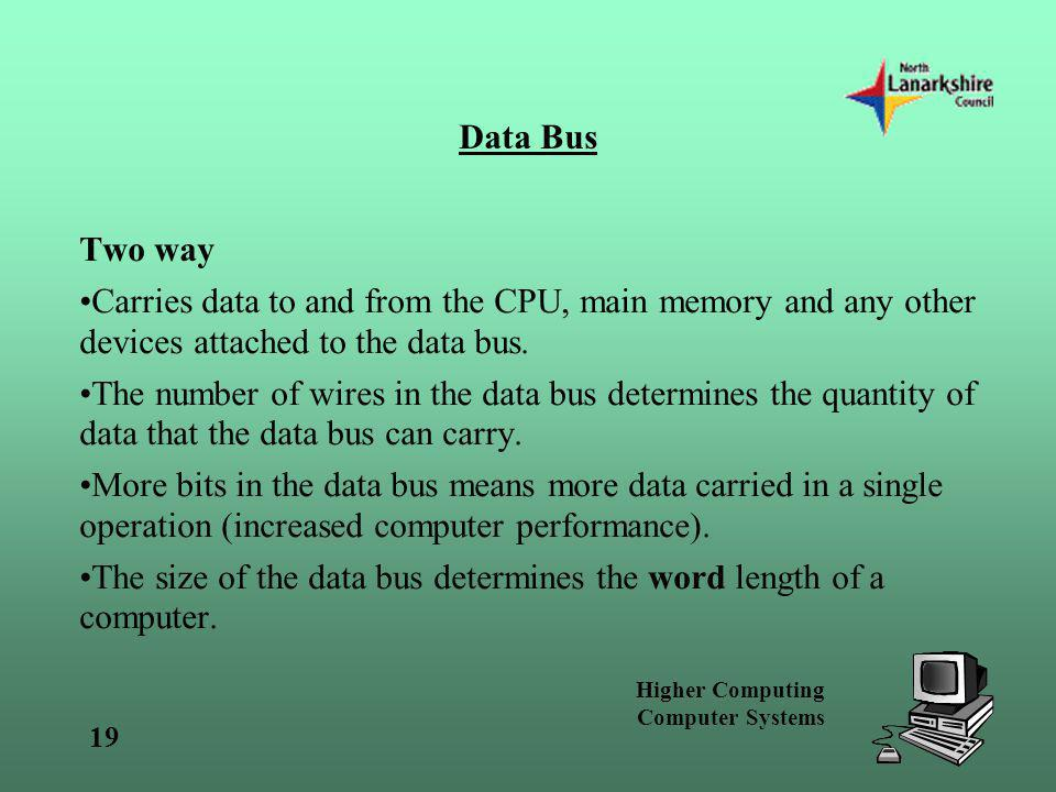 Data Bus Two way. Carries data to and from the CPU, main memory and any other devices attached to the data bus.