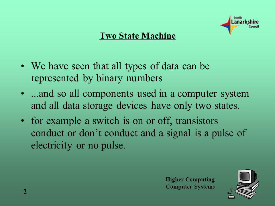 Two State Machine We have seen that all types of data can be represented by binary numbers.