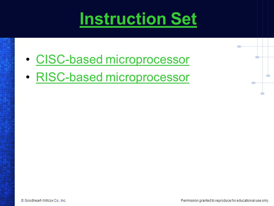 Instruction Set CISC-based microprocessor RISC-based microprocessor