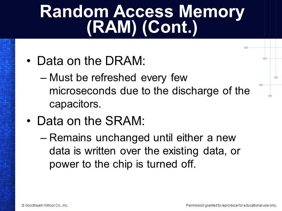 Random Access Memory (RAM) (Cont.)