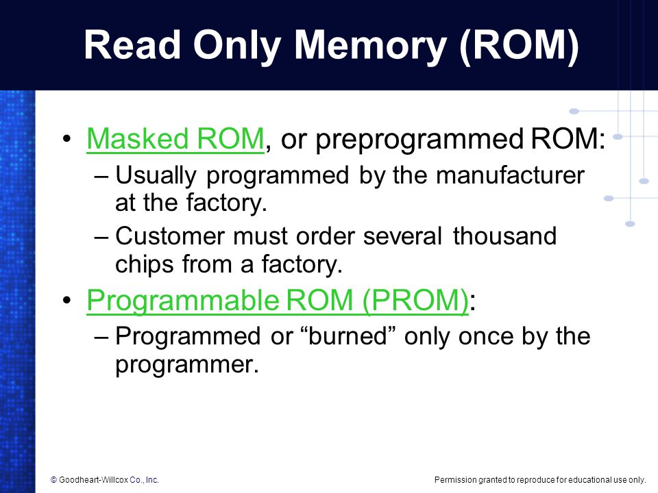 Read Only Memory (ROM) Masked ROM, or preprogrammed ROM:
