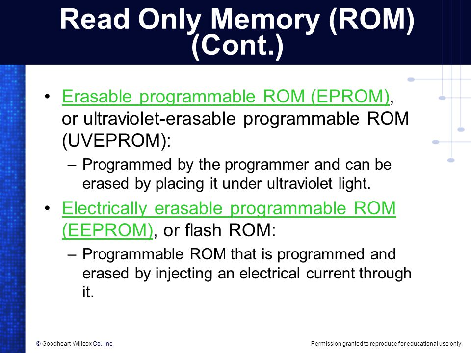 Read Only Memory (ROM) (Cont.)