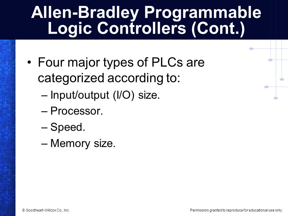 Allen-Bradley Programmable Logic Controllers (Cont.)