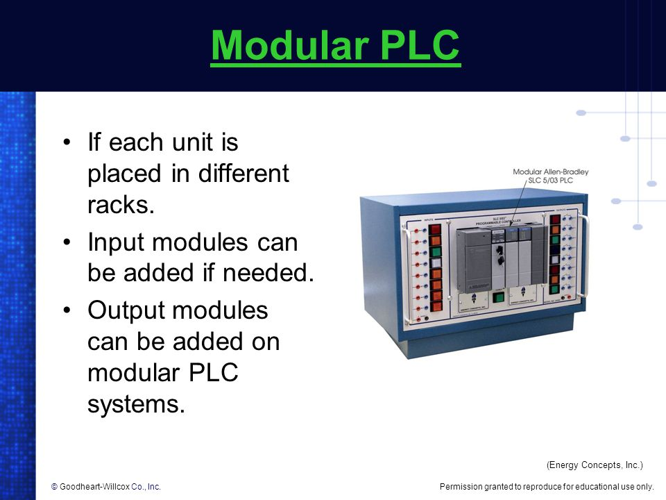 Modular PLC If each unit is placed in different racks.