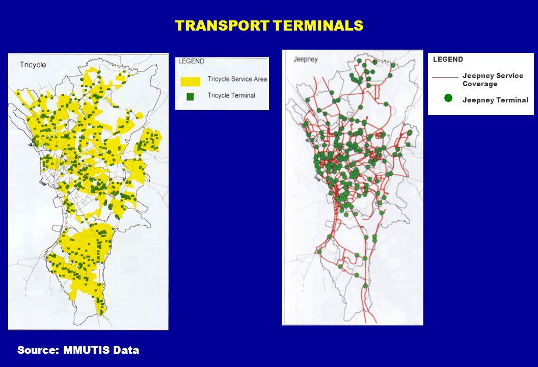 TRANSPORT TERMINALS Source: MMUTIS Data LEGEND Jeepney Service