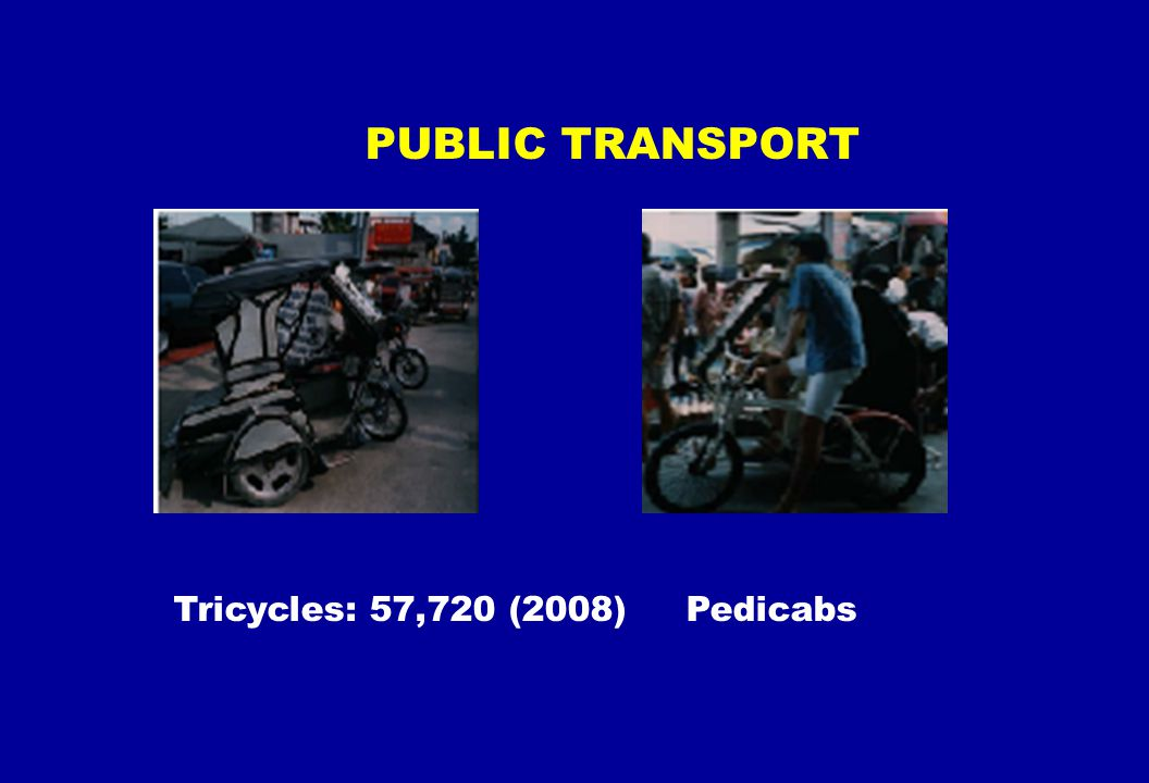 PUBLIC TRANSPORT Tricycles: 57,720 (2008) Pedicabs