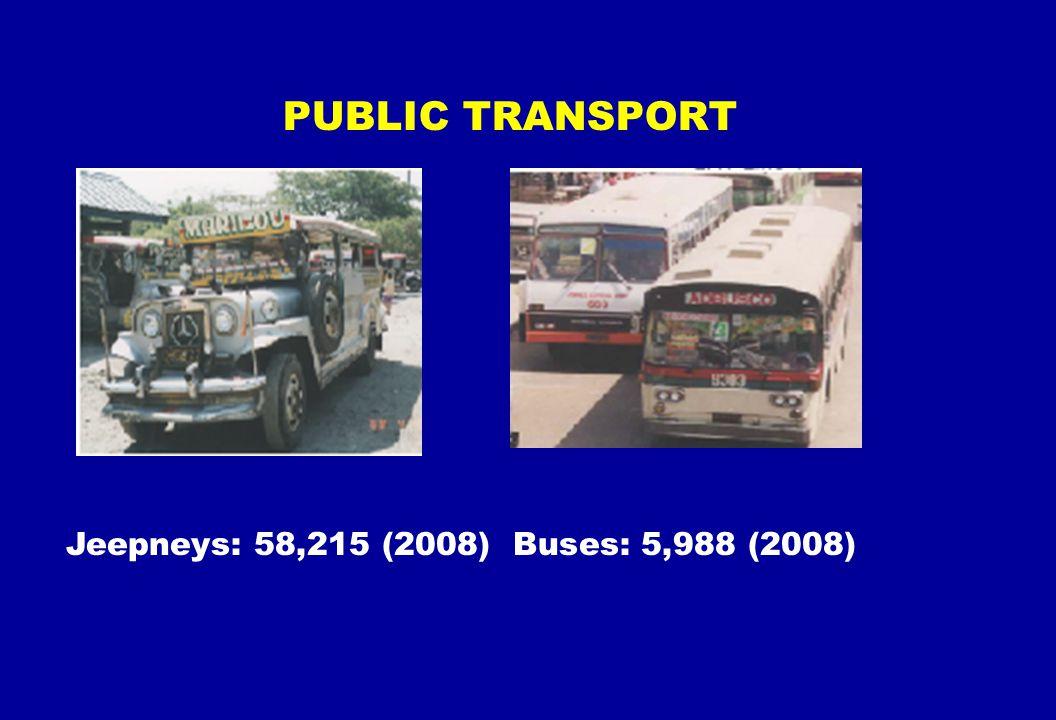 PUBLIC TRANSPORT Jeepneys: 58,215 (2008) Buses: 5,988 (2008)
