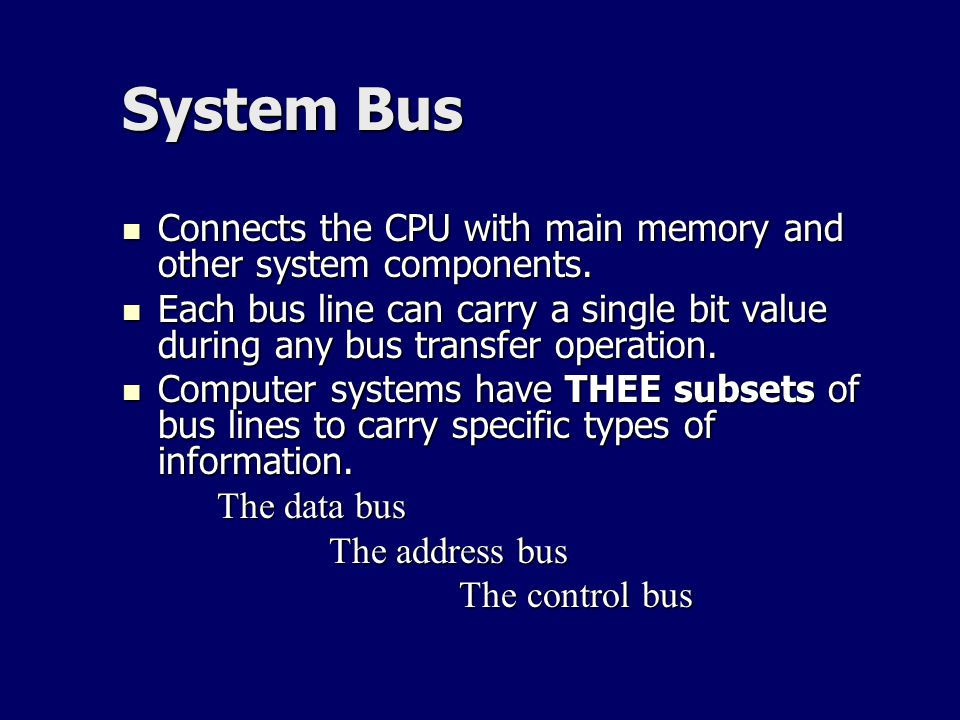 System Bus Connects the CPU with main memory and other system components.