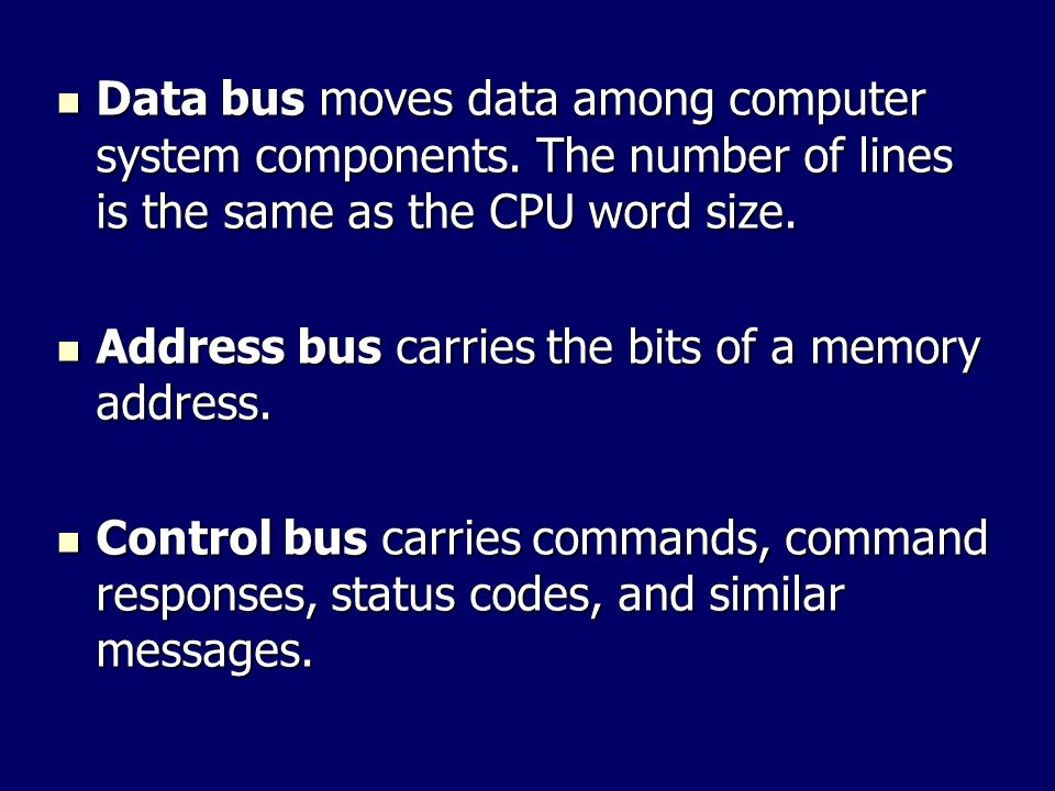 Data bus moves data among computer system components