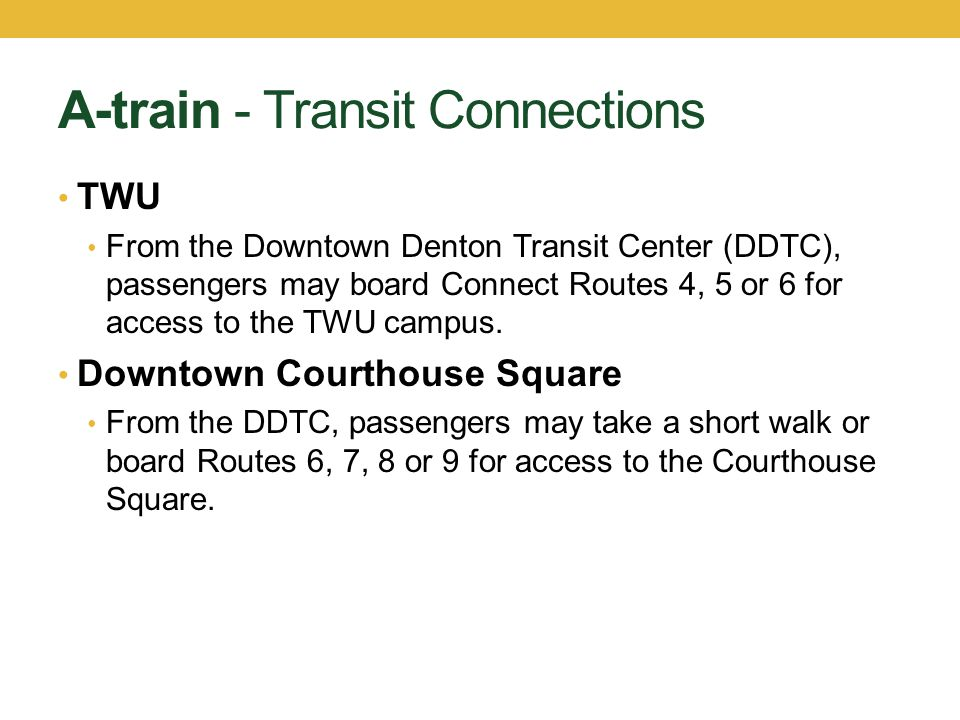 A-train - Transit Connections