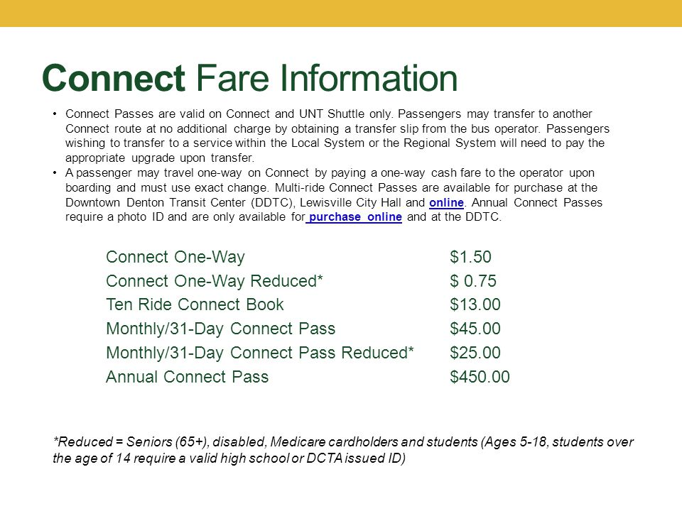 Connect Fare Information