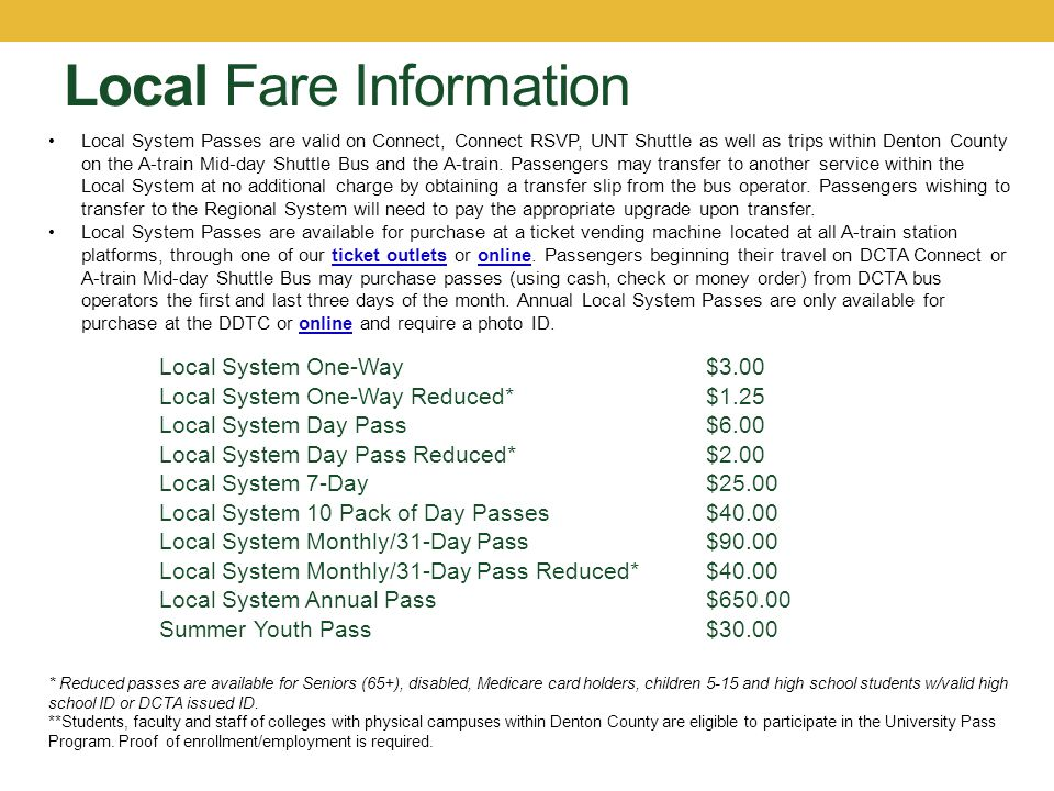 Local Fare Information