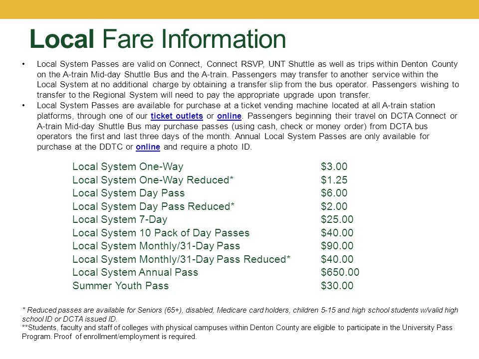 Local Fare Information