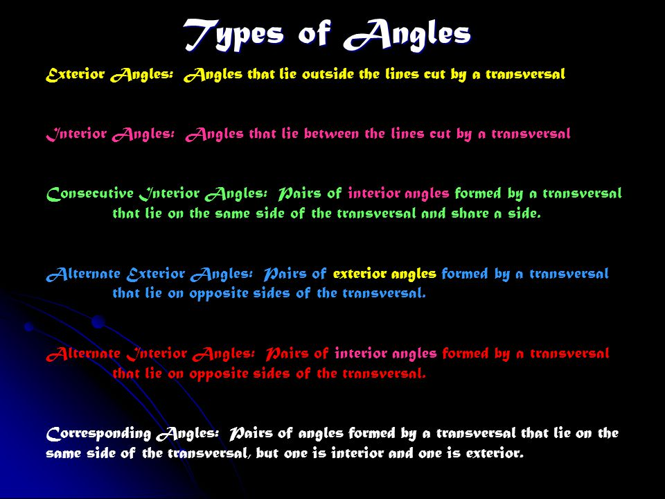 Types of Angles Exterior Angles: Angles that lie outside the lines cut by a transversal.