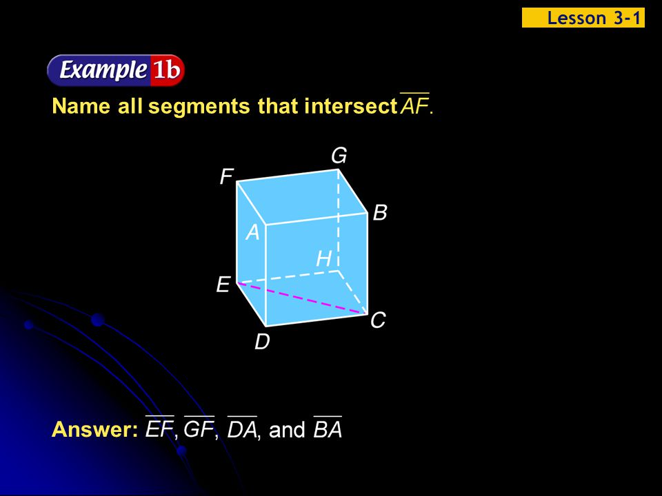 Name all segments that intersect
