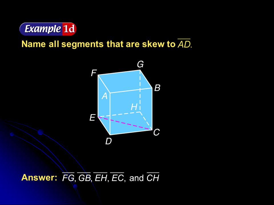 Name all segments that are skew to
