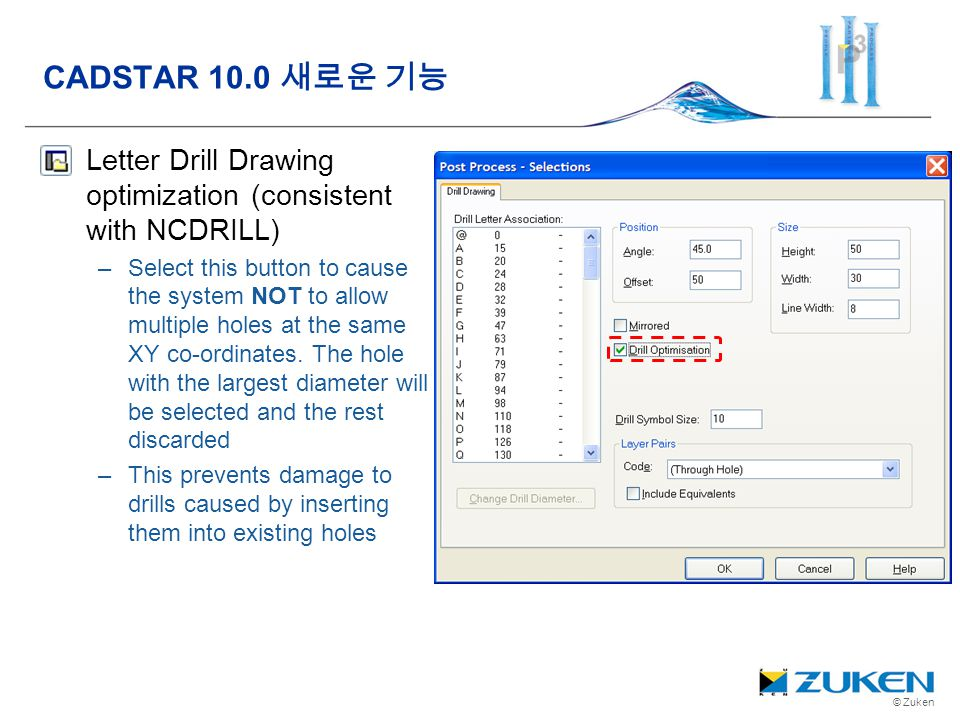 CADSTAR 10.0 새로운 기능 Letter Drill Drawing optimization (consistent with NCDRILL)