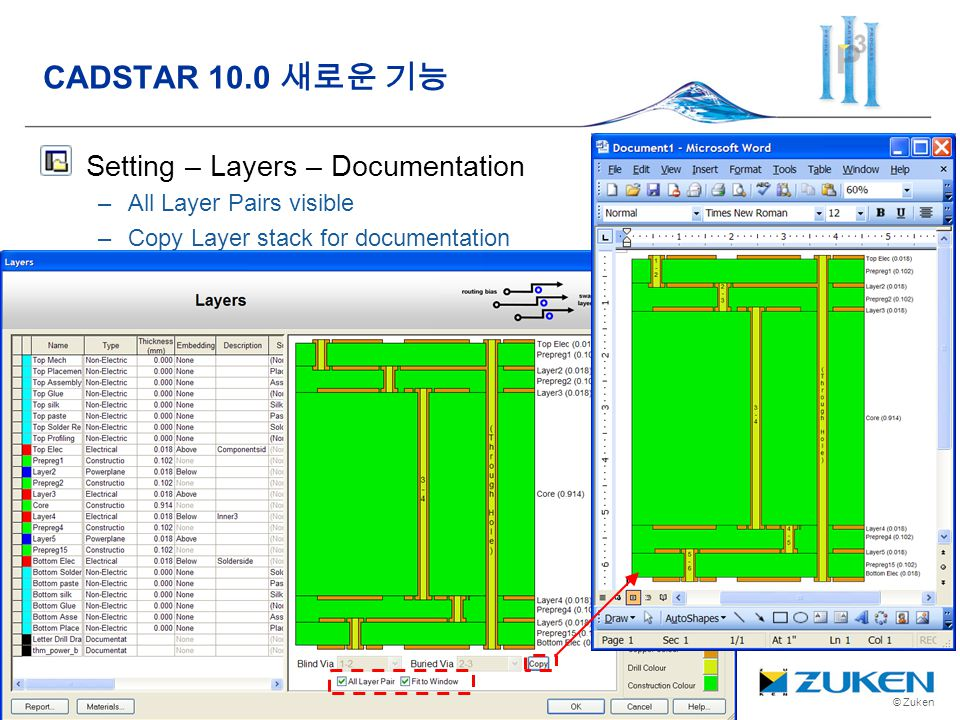 CADSTAR 10.0 새로운 기능 Setting – Layers – Documentation