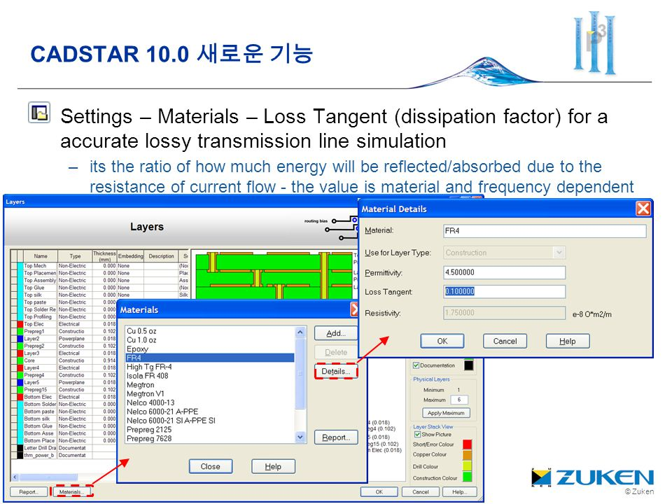 CADSTAR 10.0 새로운 기능 Settings – Materials – Loss Tangent (dissipation factor) for a accurate lossy transmission line simulation.