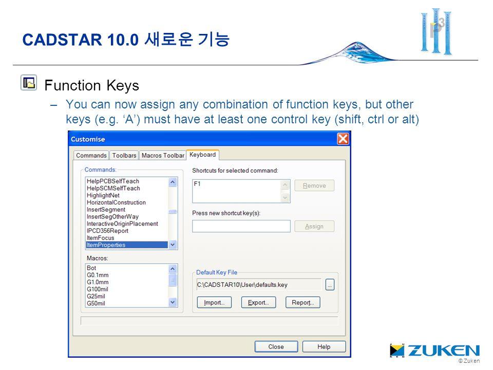 CADSTAR 10.0 새로운 기능 Function Keys