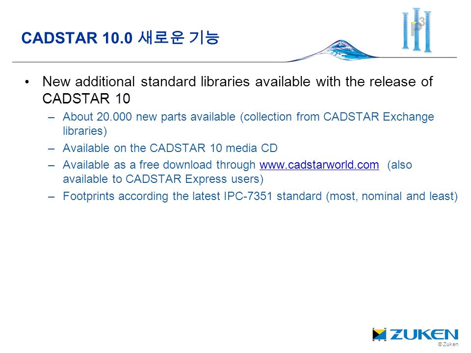 CADSTAR 10.0 새로운 기능 New additional standard libraries available with the release of CADSTAR 10.