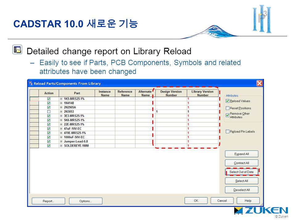 CADSTAR 10.0 새로운 기능 Detailed change report on Library Reload