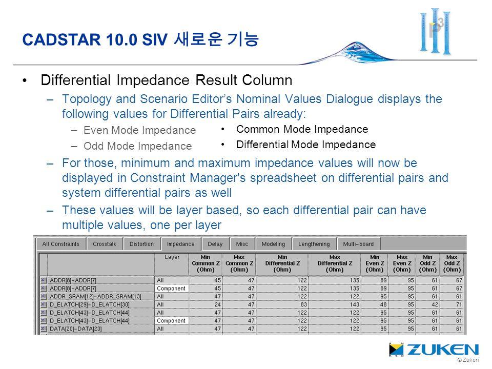CADSTAR 10.0 SIV 새로운 기능 Differential Impedance Result Column