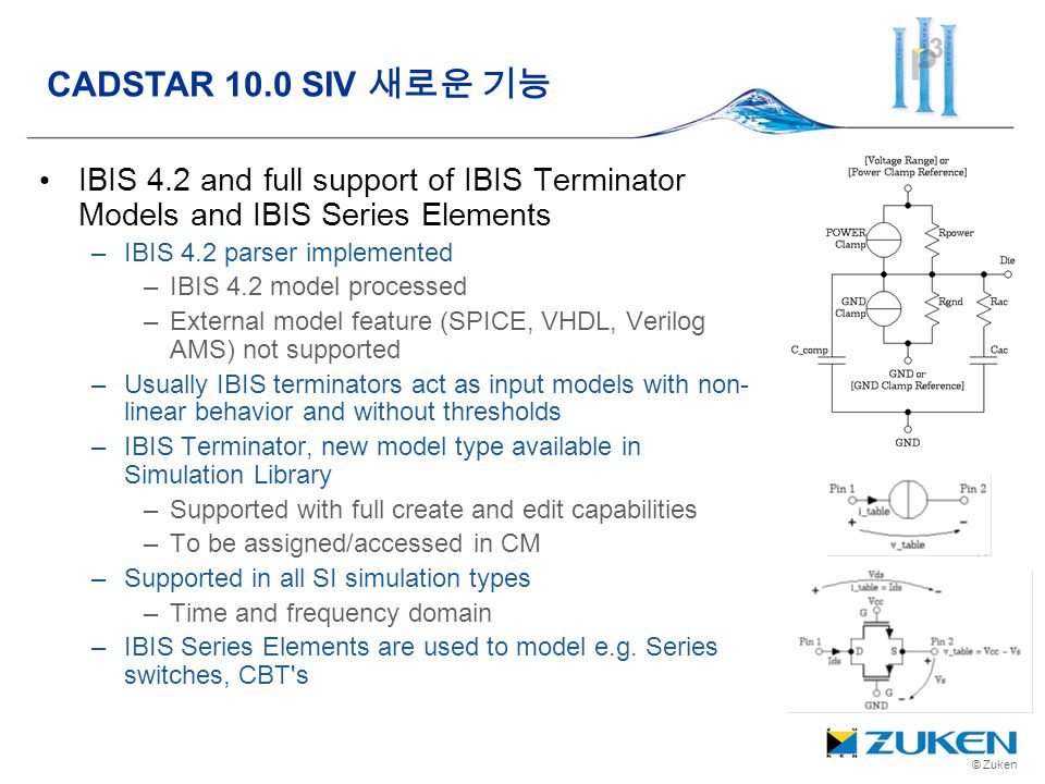 CADSTAR 10.0 SIV 새로운 기능 IBIS 4.2 and full support of IBIS Terminator Models and IBIS Series Elements.
