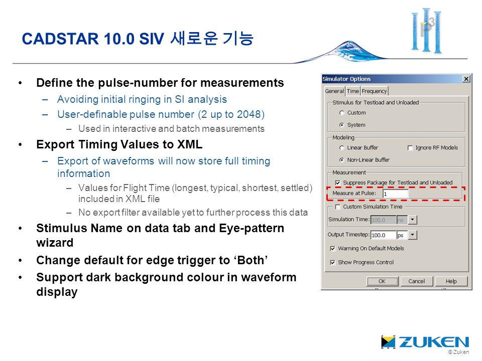 CADSTAR 10.0 SIV 새로운 기능 Define the pulse-number for measurements