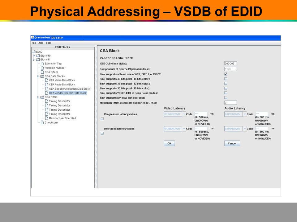 Physical Addressing – VSDB of EDID