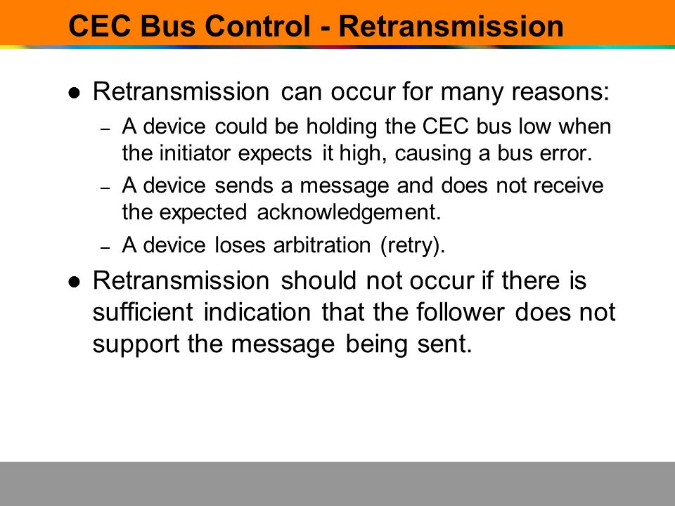 CEC Bus Control - Retransmission