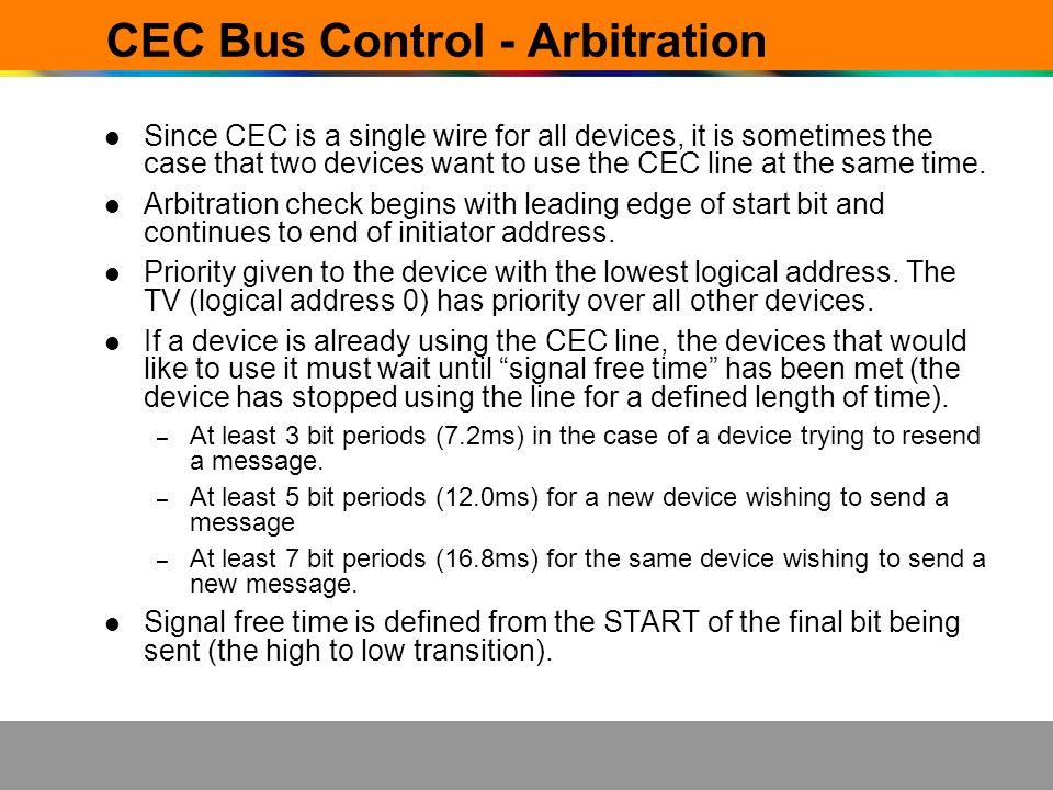 CEC Bus Control - Arbitration