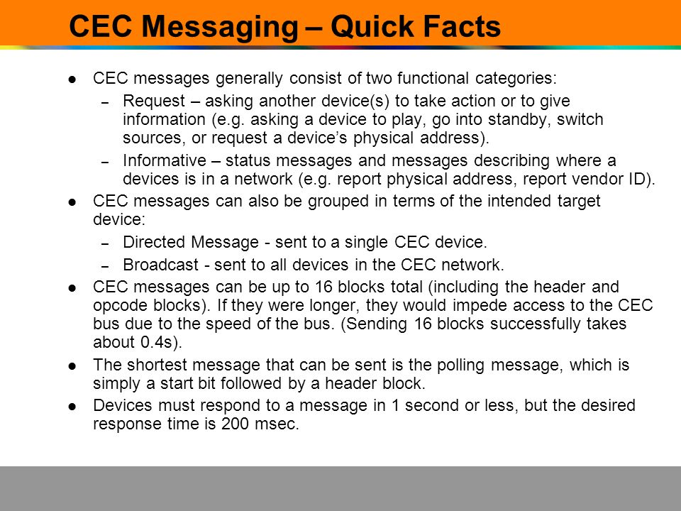 CEC Messaging – Quick Facts