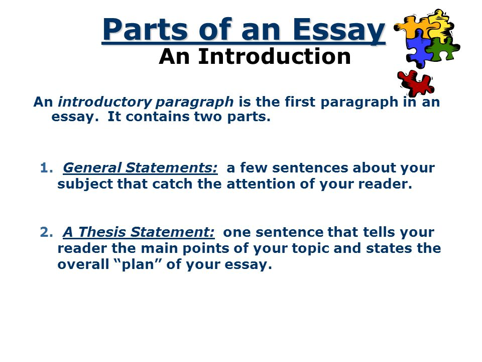 Parts of an Essay An Introduction