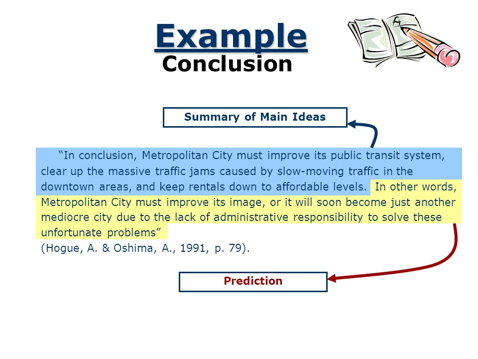 Example Conclusion. Summary of Main Ideas. In conclusion, Metropolitan City must improve its public transit system,