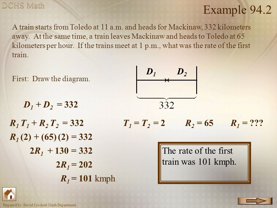 Example 94.2 D1 D2 D1 + D2 = 332 R1 T1 + R2 T2 = 332 T1 = T2 = 2