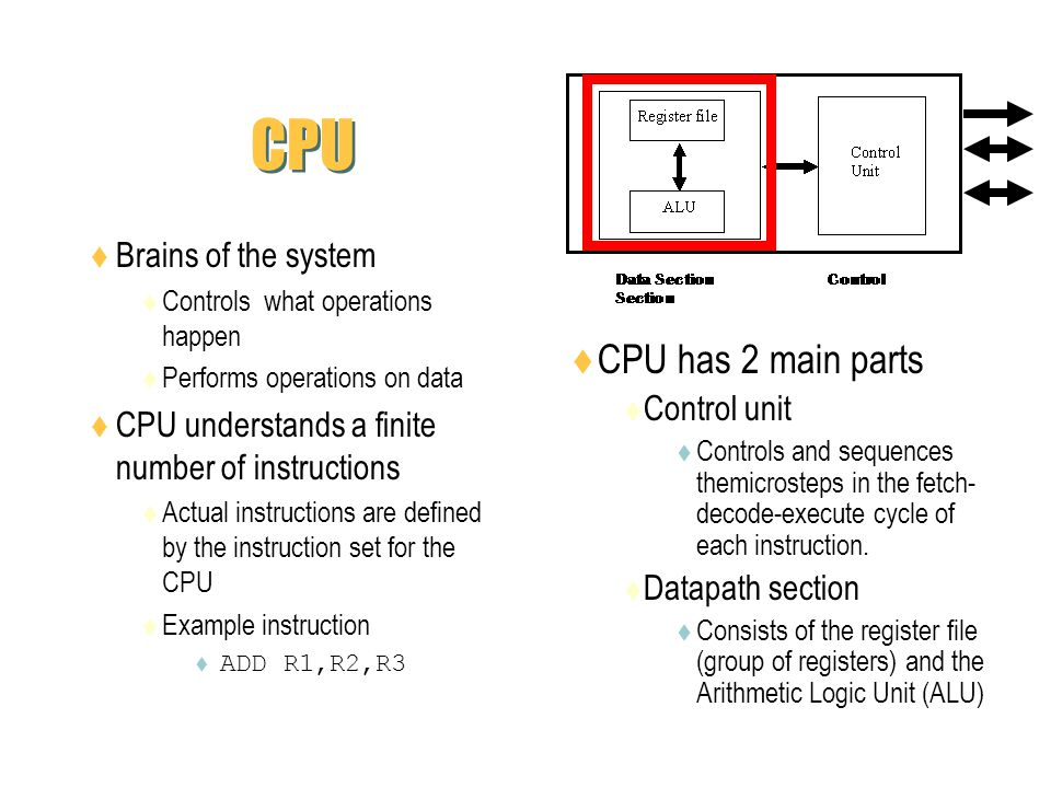 CPU CPU has 2 main parts Brains of the system