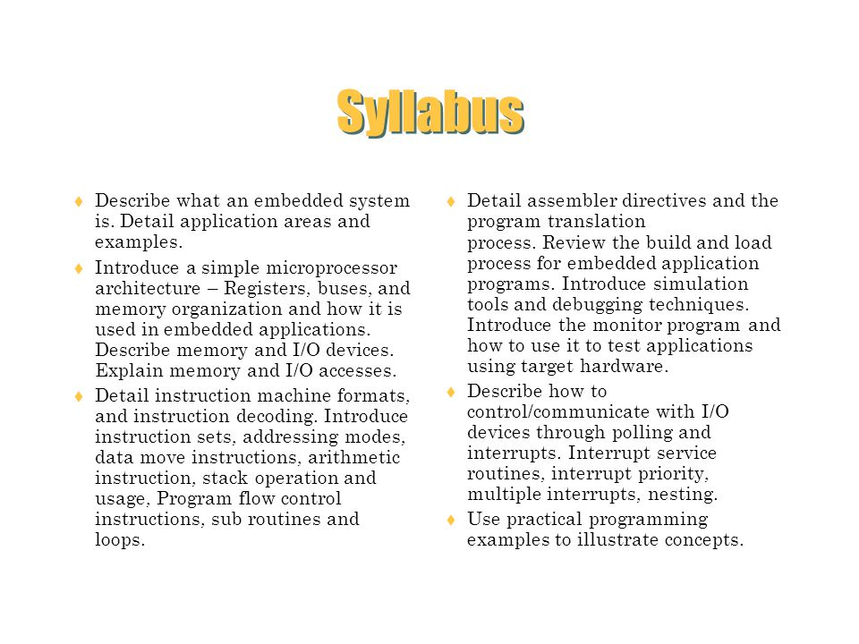 Syllabus Describe what an embedded system is. Detail application areas and examples.