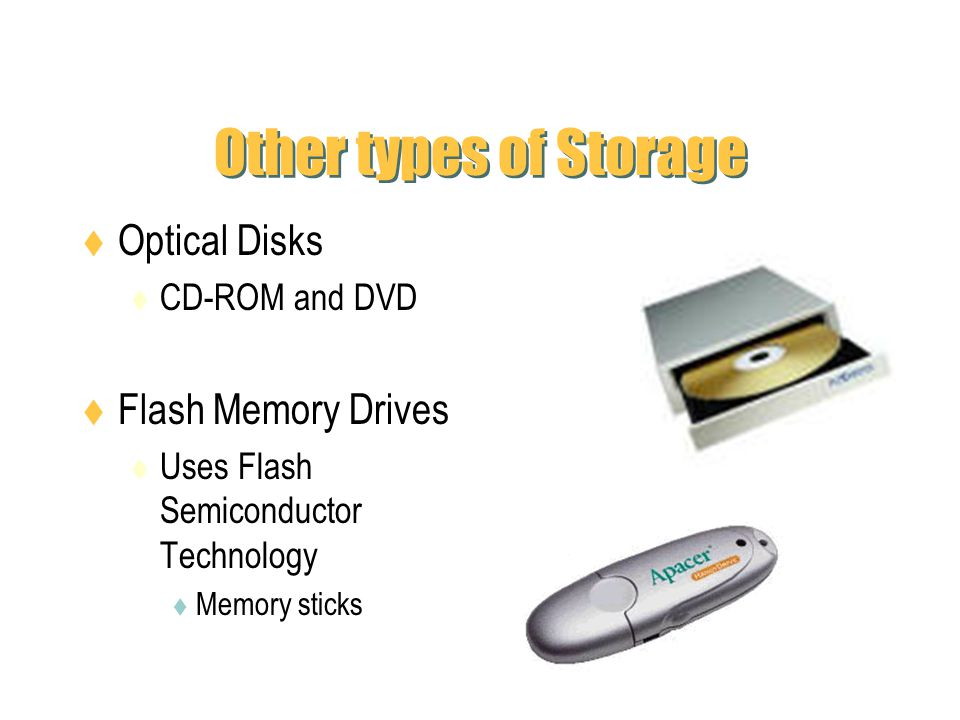Other types of Storage Optical Disks Flash Memory Drives