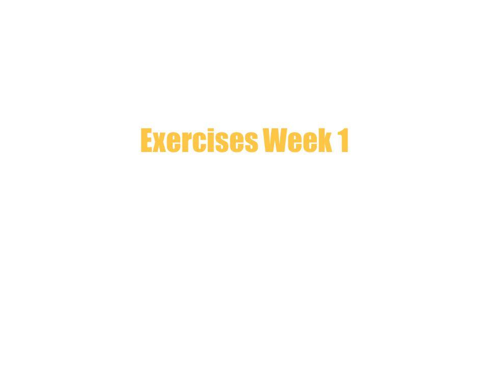 Exercises Week 1