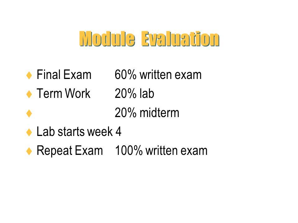 Module Evaluation Final Exam 60% written exam Term Work 20% lab