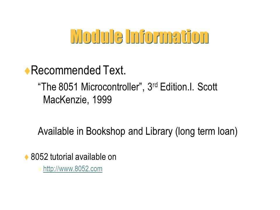 Module Information Recommended Text.