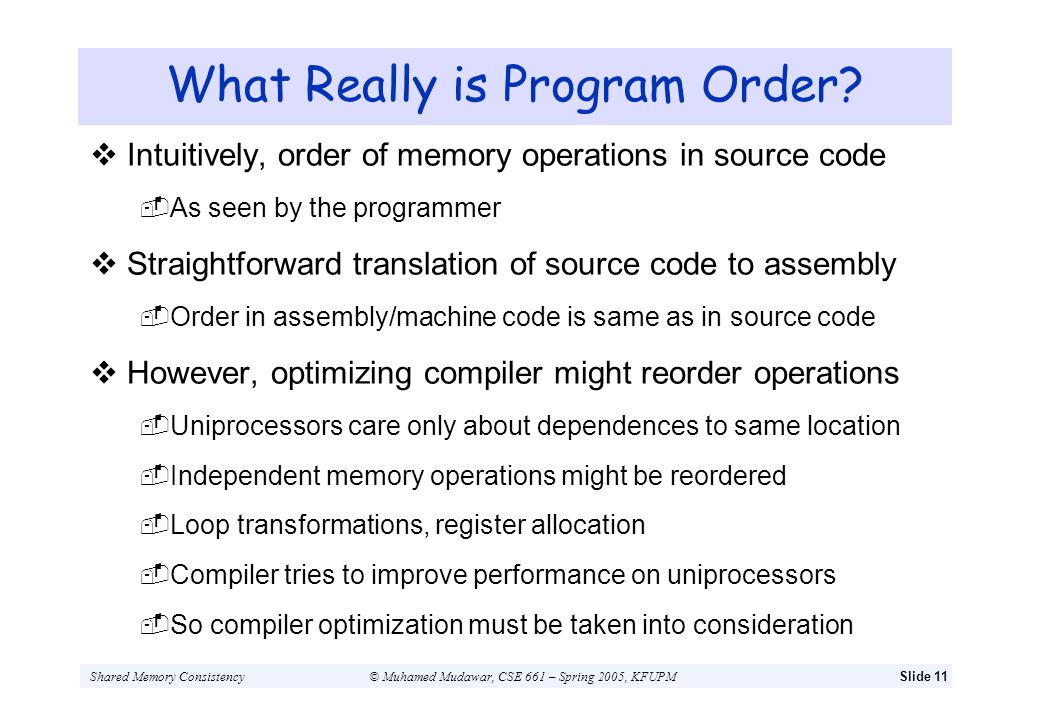 What Really is Program Order
