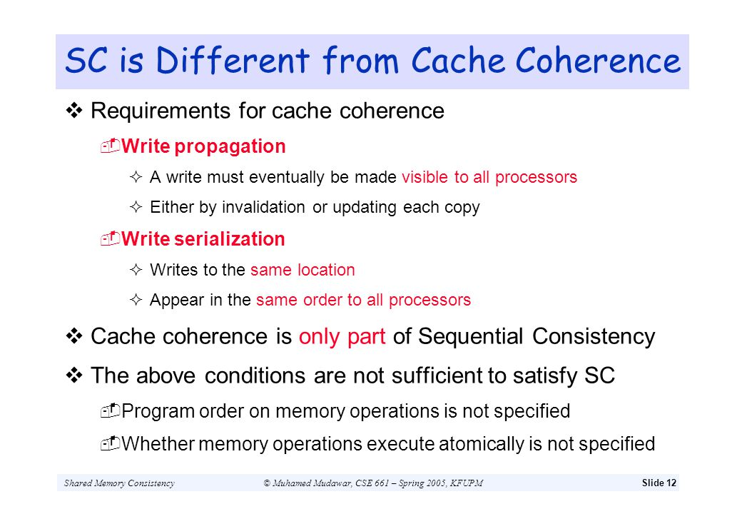 SC is Different from Cache Coherence