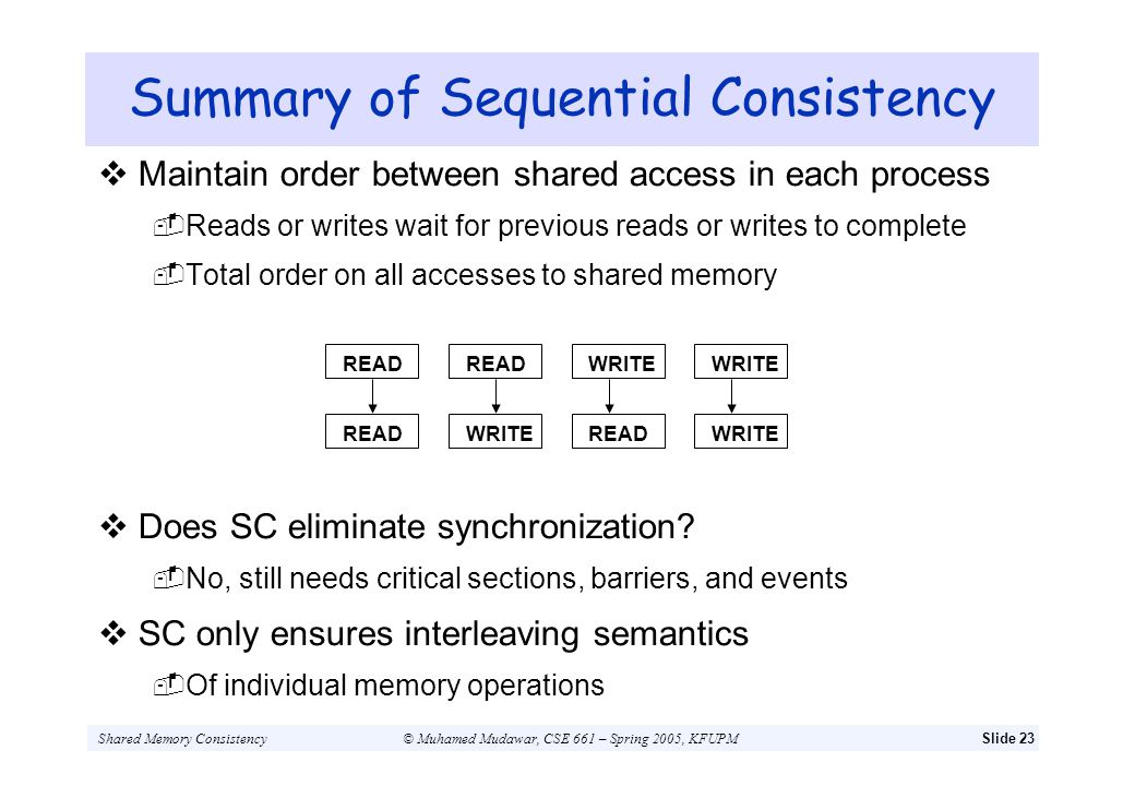Summary of Sequential Consistency