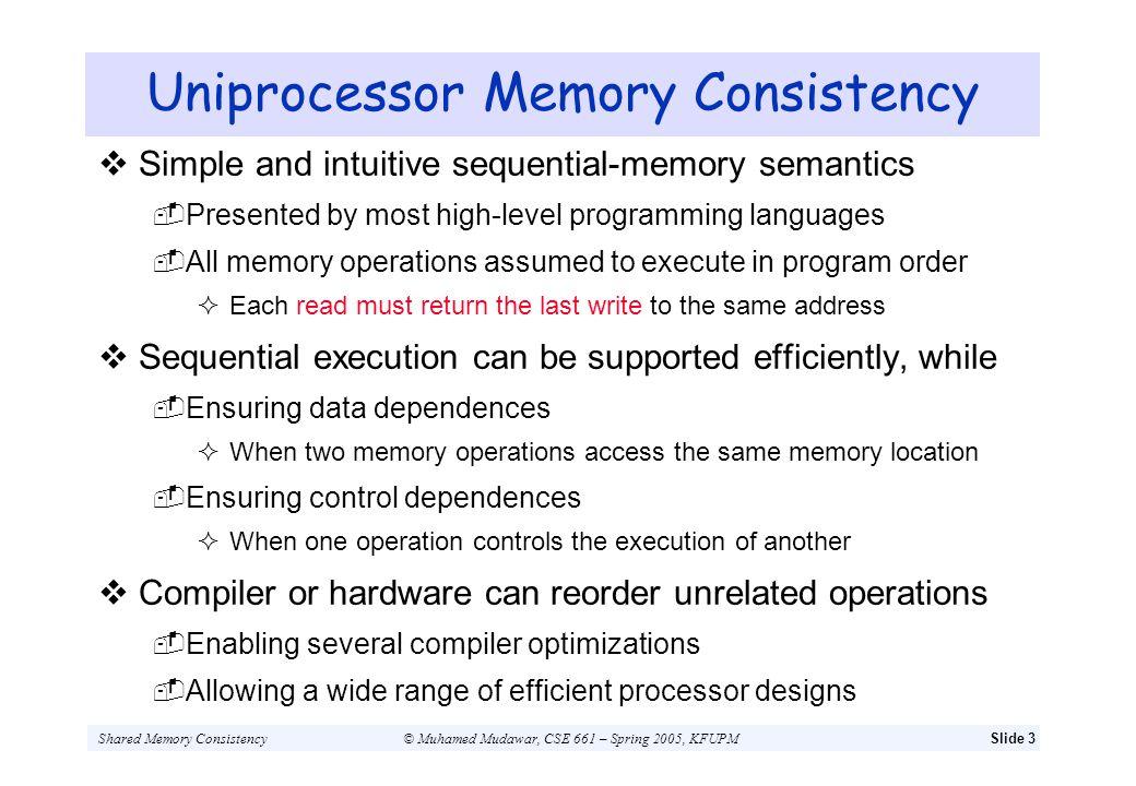 Uniprocessor Memory Consistency